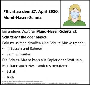 Masken-Pflicht ab dem 27. April 2020 in Deutschland